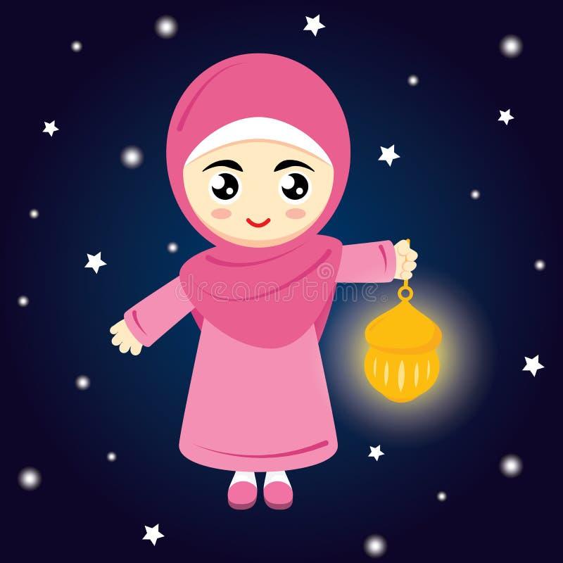 Muçulmanos da menina ilustração royalty free