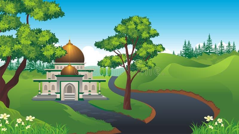Muçulmanos dos desenhos animados - mesquita com paisagem bonita ilustração stock