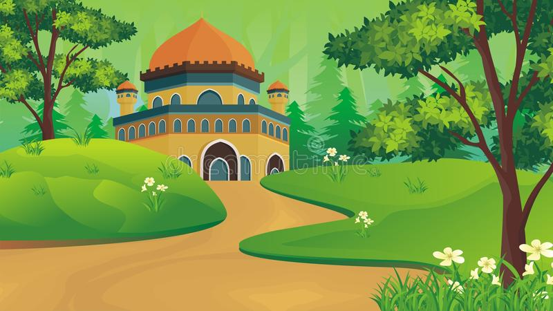 Muçulmanos dos desenhos animados - mesquita com paisagem bonita ilustração royalty free