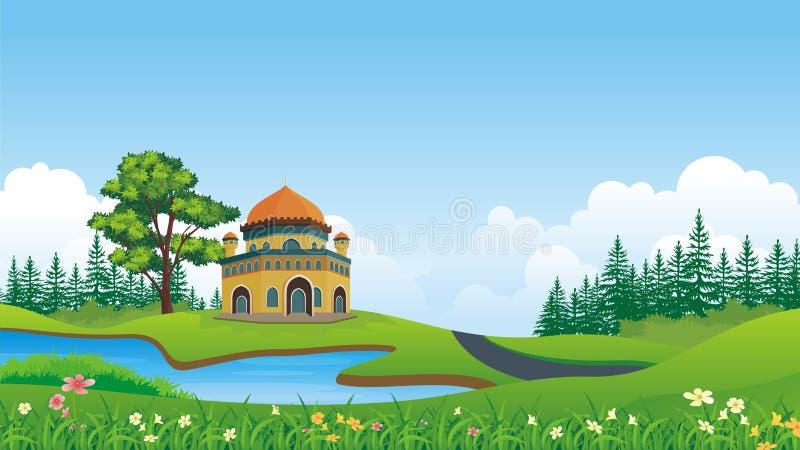 Muçulmanos dos desenhos animados - mesquita com paisagem bonita ilustração do vetor