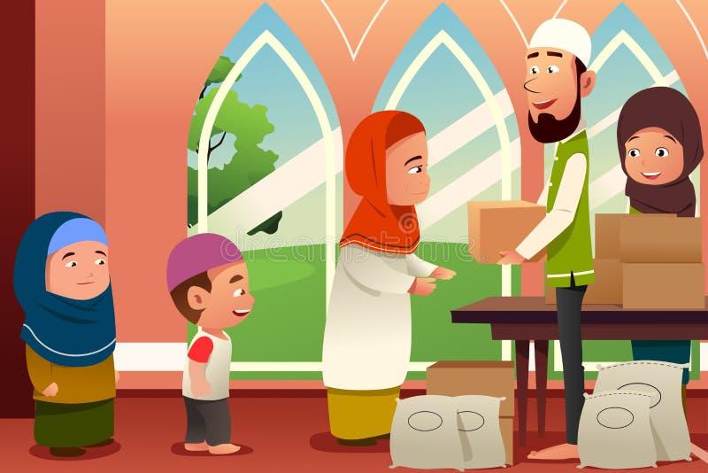 Muçulmanos que dão doações aos povos pobres ilustração do vetor