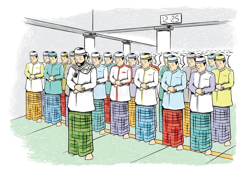 Muçulmanos que rezam em uma ilustração da mesquita ilustração do vetor