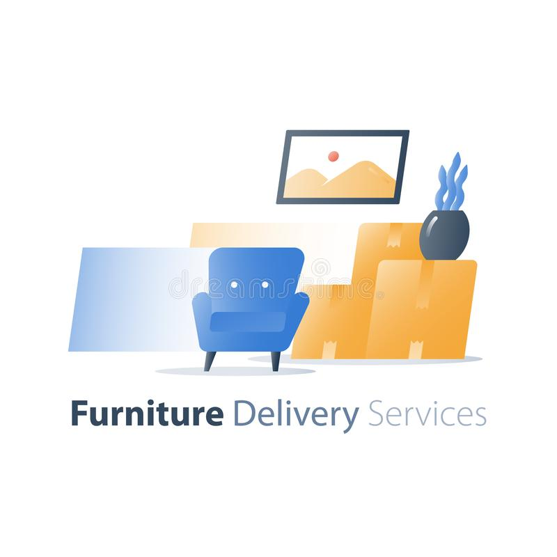 Muévase en hogar, servicio de entrega de los muebles, la relocalización rápida, la butaca y la pila de cajas libre illustration