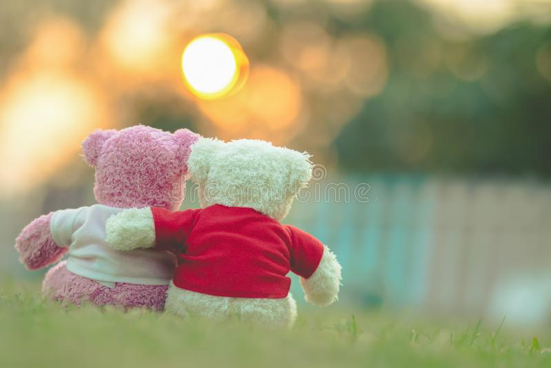 muñeca de dos osos que se sienta junto foto de archivo