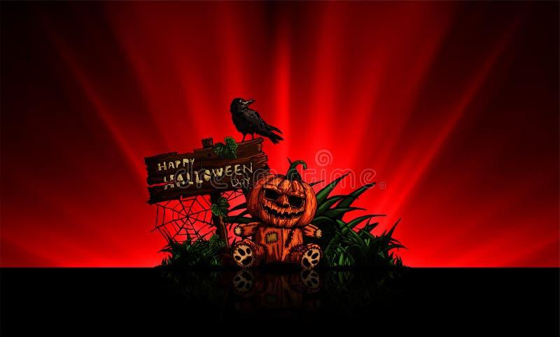 Muñeca de la calabaza, tarjeta del día del feliz Halloween en luz lisa abstracta stock de ilustración