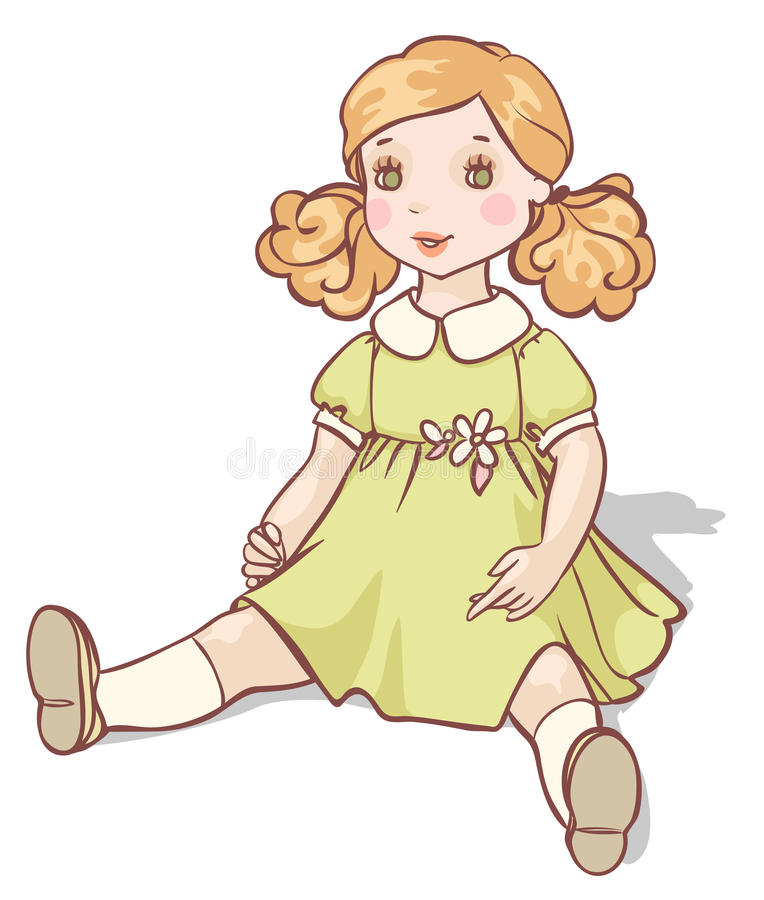 Muñeca de la historieta en un vestido verde stock de ilustración
