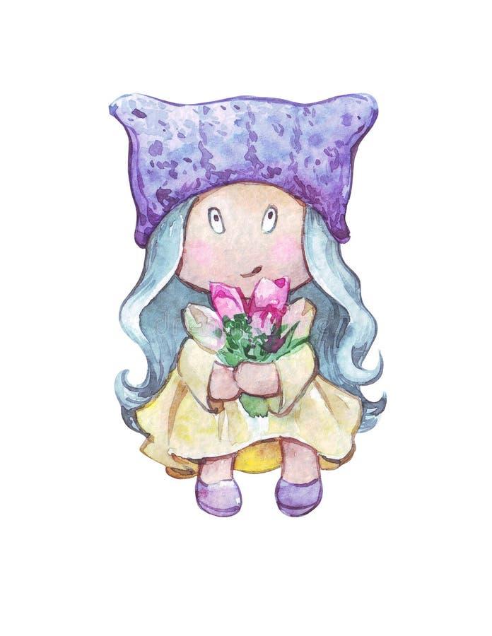 Muñeca de la historieta de la materia textil con las flores imagenes de archivo