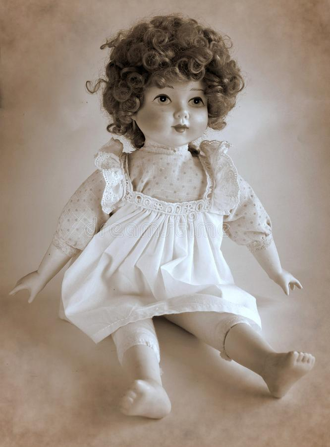 Muñeca de la porcelana del vintage imagen de archivo libre de regalías