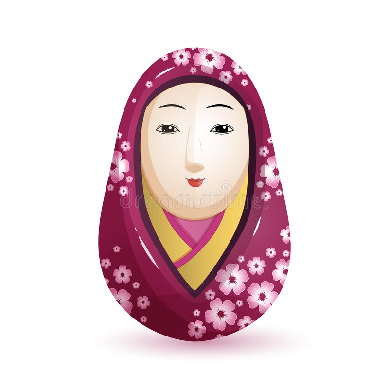 Muñeca de Onna Daruma Japanese en un kimono púrpura con un modelo de la cereza Ilustración del vector en el fondo blanco ilustración del vector
