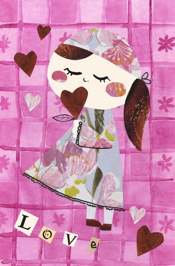 Muñeca de papel - AMOR stock de ilustración