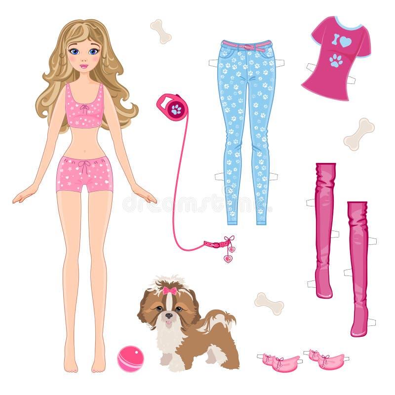 Muñeca de papel con ropa y el perro ilustración del vector