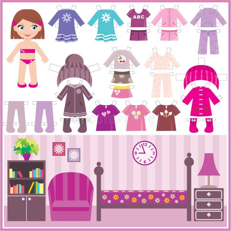 Muñeca de papel con un conjunto de ropa y de un cuarto stock de ilustración