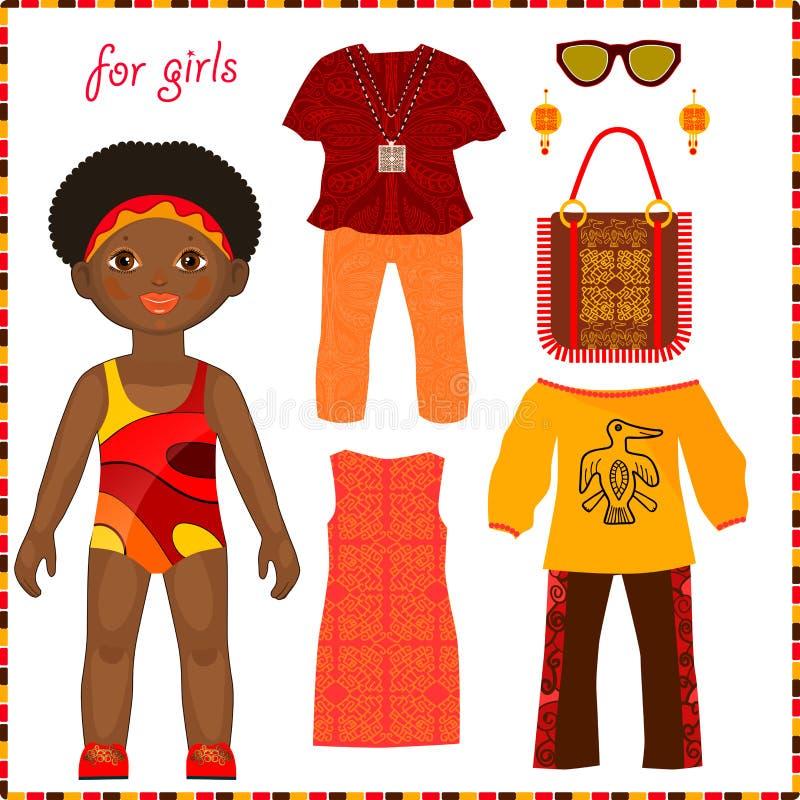 Muñeca de papel con un sistema de ropa étnica colorida. libre illustration