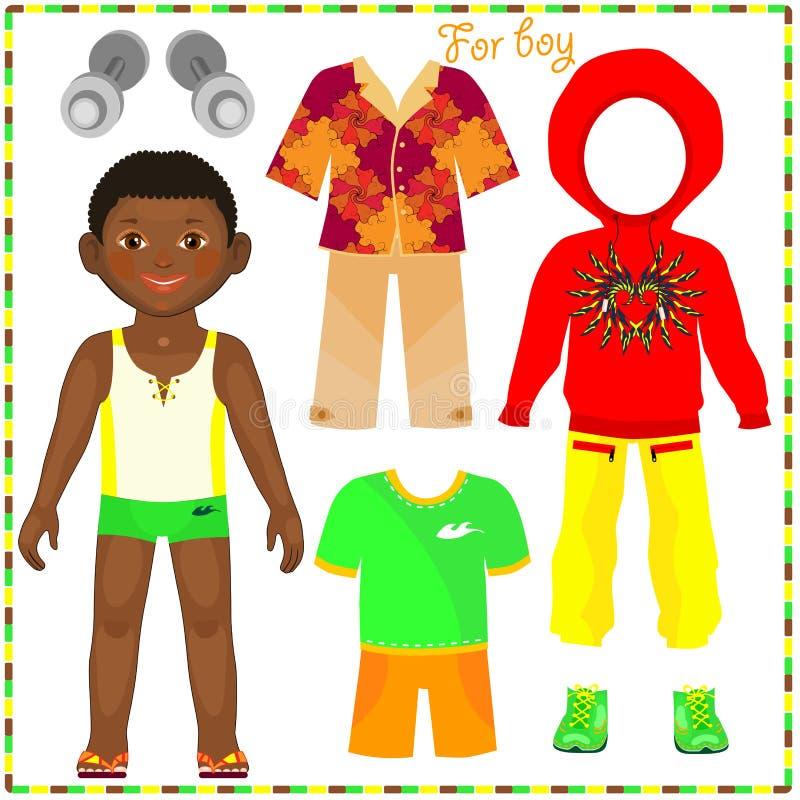 Muñeca de papel con un sistema de ropa de moda. ilustración del vector