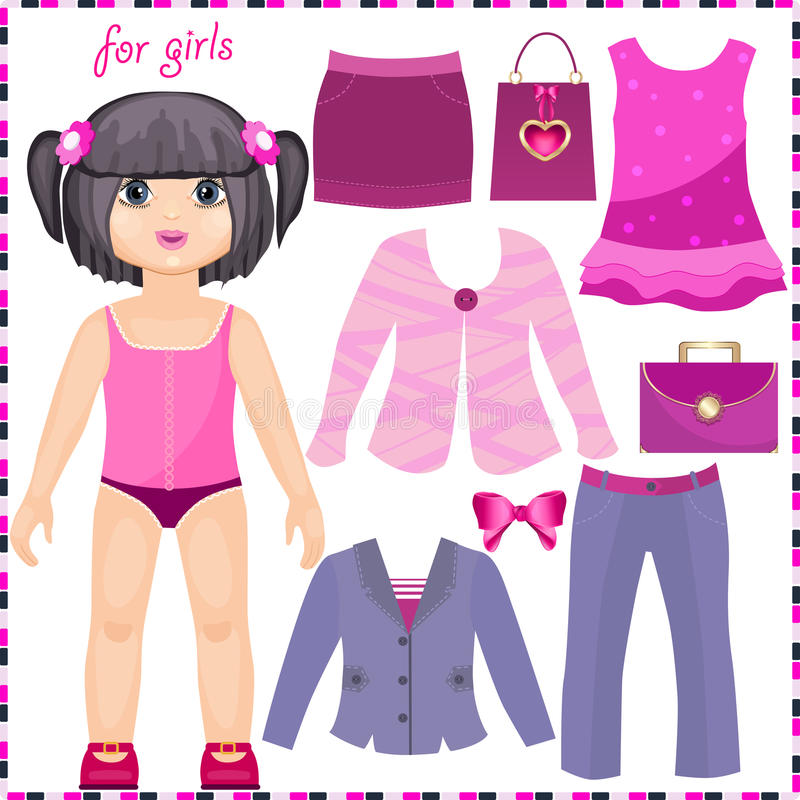 Muñeca de papel con un sistema de ropa elegante stock de ilustración