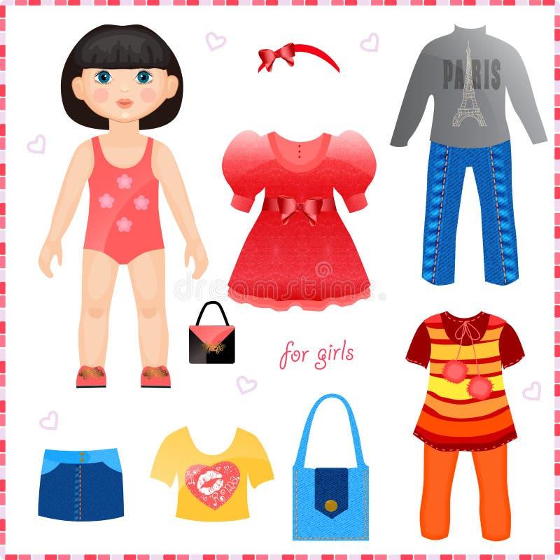 Muñeca de papel con un sistema de ropa. Gir lindo de la moda stock de ilustración