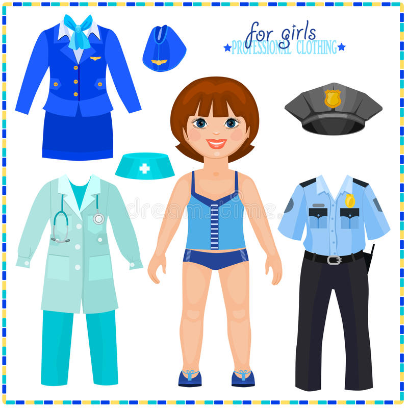 Muñeca de papel con un sistema de ropas profesionales. ilustración del vector