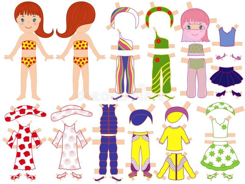 Muñeca de papel y un sistema de ropa para el SE del verano ilustración del vector