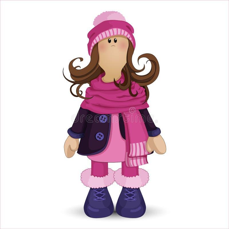 Muñeca de Tilda Muchacha en ropa del invierno: sombrero rosado con el pom-pom, una bufanda caliente, botas, y una capa azul Perso ilustración del vector