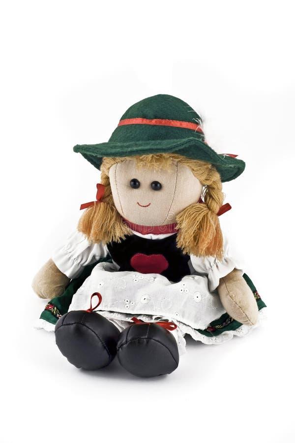 Muñeca de trapo en el traje austríaco nacional aislado fotografía de archivo