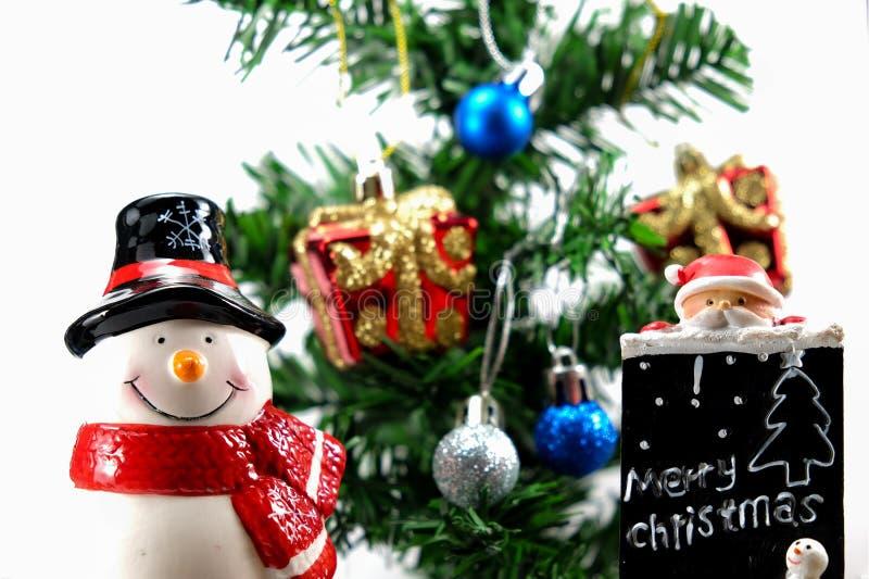 Muñeca del muñeco de nieve y de Papá Noel foto de archivo