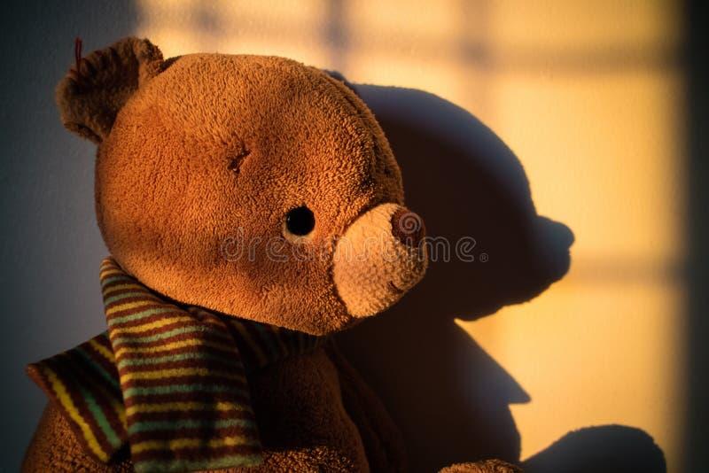 Muñeca del oso de peluche que se sienta al lado de la ventana con la luz de la puesta del sol poli imágenes de archivo libres de regalías