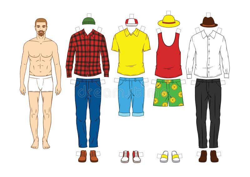 Muñeca del papel del ` s de los hombres con ropa libre illustration