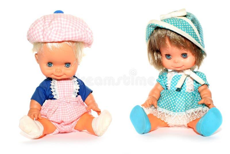 Muñeca feliz del muchacho y de la muchacha fotografía de archivo