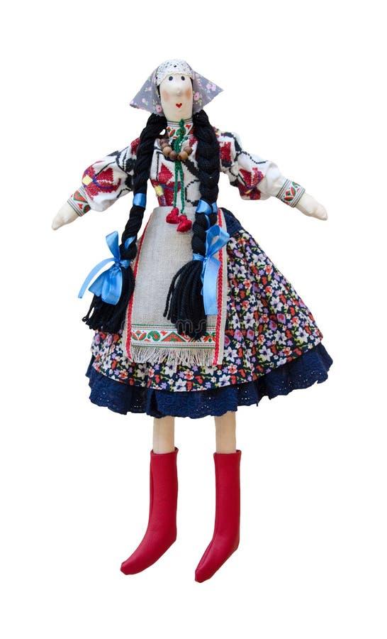 Muñeca hecha a mano aislada en el ucraniano nacional c imagen de archivo libre de regalías