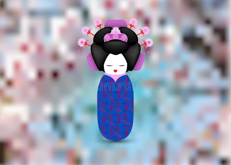 Muñeca nacional del kokeshi de Japón en un kimono azul Fondo borroso floral aislado o japonés del ejemplo del vector del estilo d libre illustration