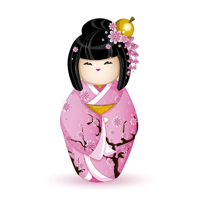 Muñeca nacional japonesa de Kokesh en un kimono rosado modelado con las flores de cerezo Ilustración del vector en el fondo blanc stock de ilustración