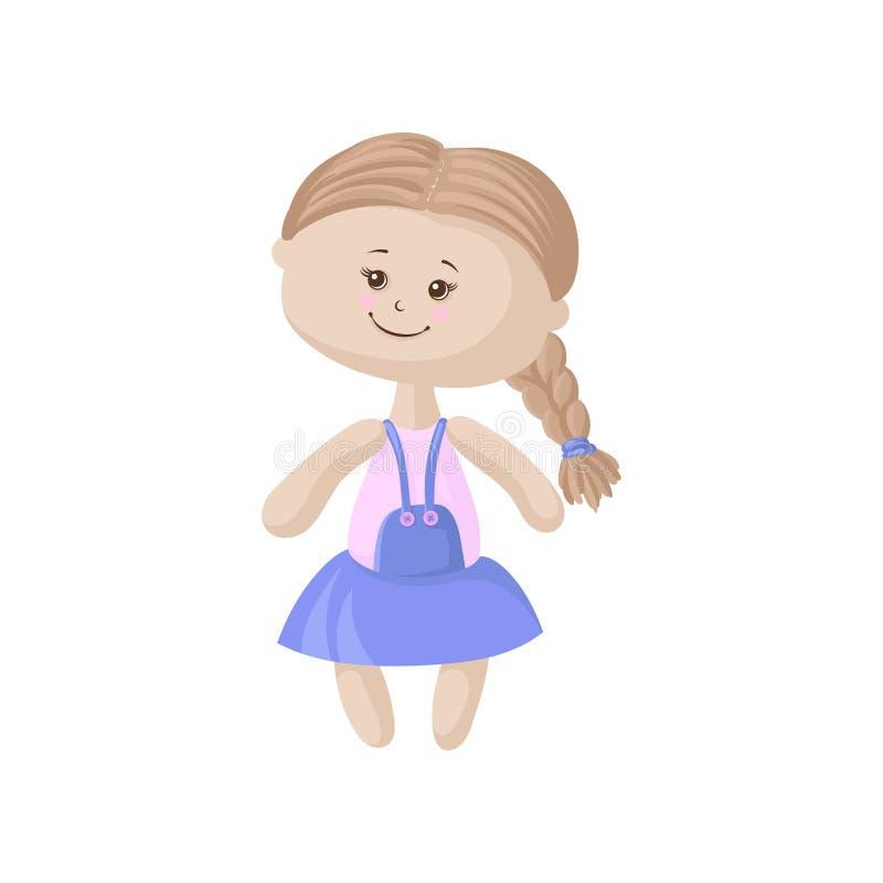 Muñeca suave linda en un vestido azul con la trenza, ejemplo de costura del vector de la historieta del juguete ilustración del vector