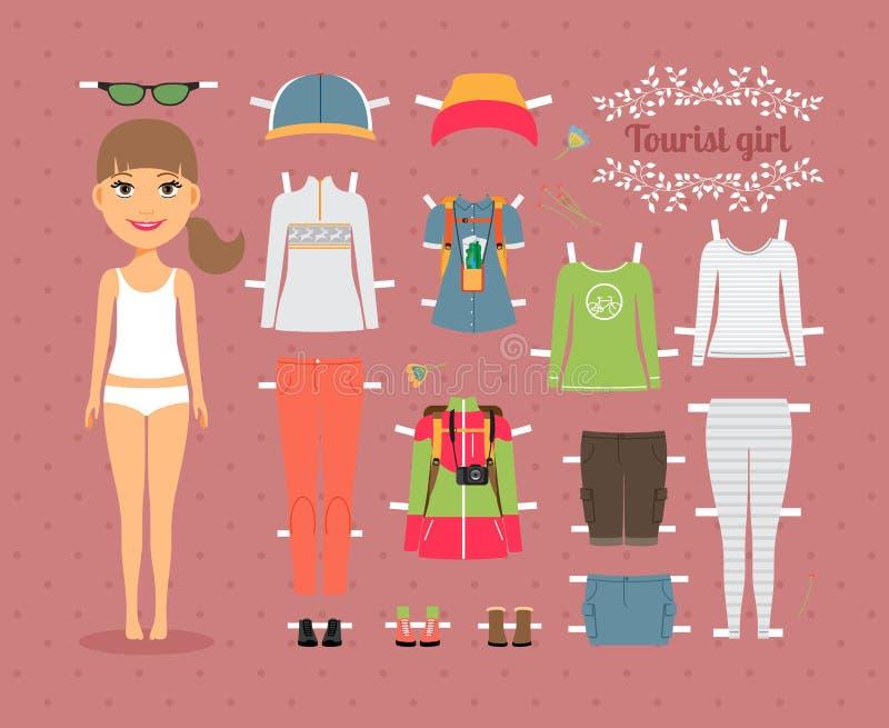 Muñeca turística del papel de la muchacha con ropa y zapatos ilustración del vector