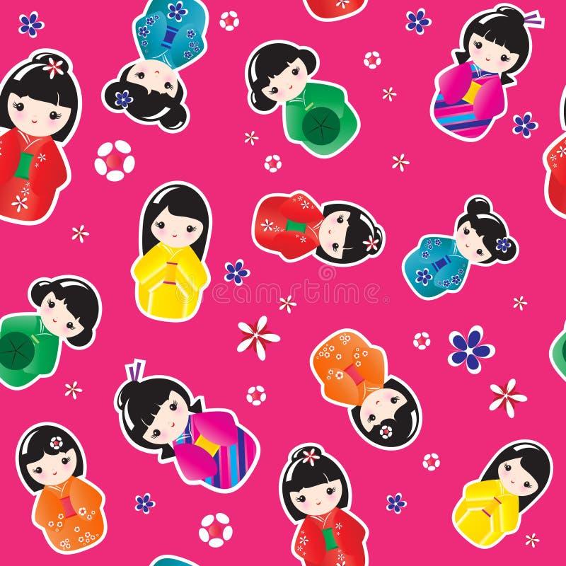 Muñecas de Kokeshi inconsútiles stock de ilustración