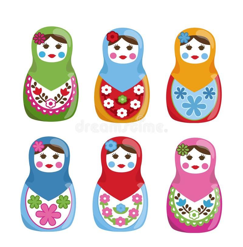 Muñecas de Matryoshka stock de ilustración
