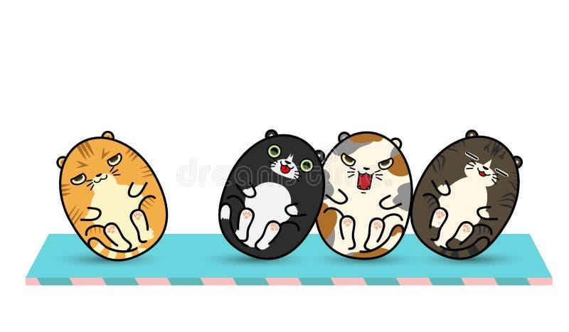 4 muñecas gordas del vaso del gato stock de ilustración