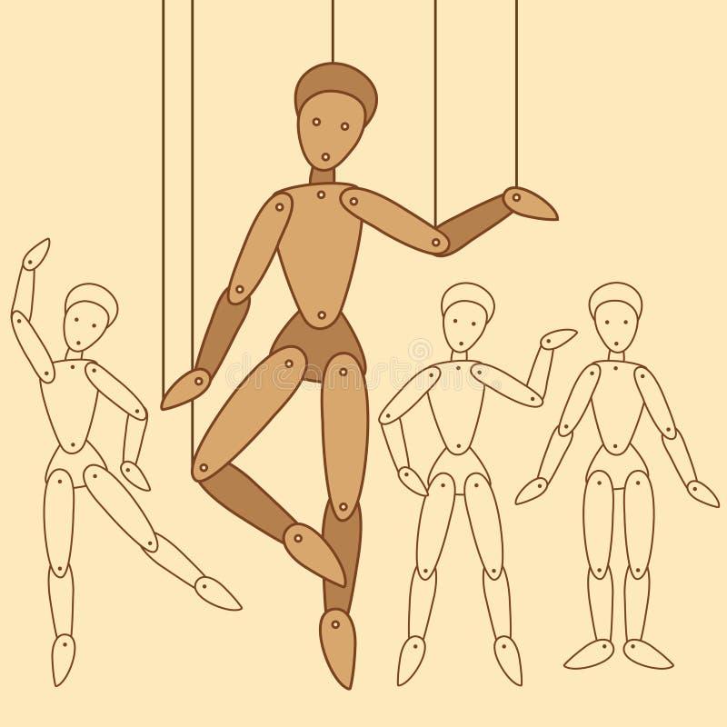 Muñecas planas en un hilo stock de ilustración