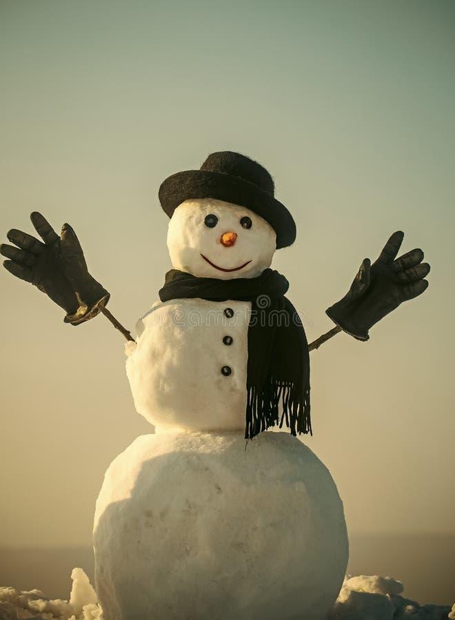 Muñeco de nieve alegre Caballero del muñeco de nieve en sombrero negro, bufanda y guantes del invierno imagen de archivo libre de regalías