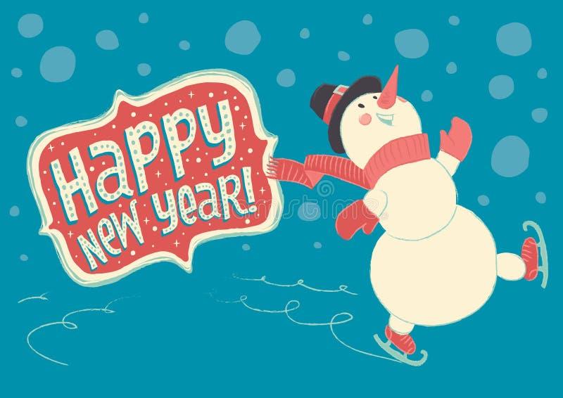 ¡Muñeco de nieve alegre que patina en el hielo y la Feliz Año Nuevo de los deseos! ilustración del vector