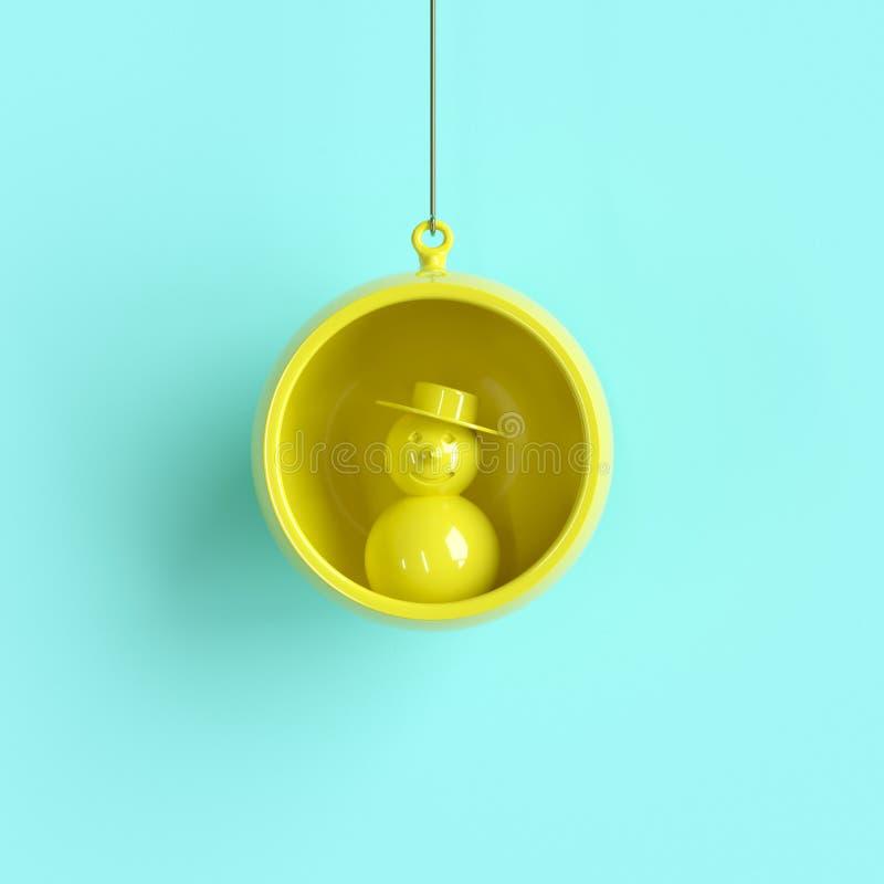 Muñeco de nieve amarillo en el ornamento amarillo de la Navidad del vidrio del mercurio en fondo azul stock de ilustración