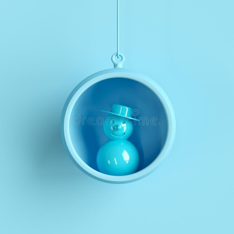 Muñeco de nieve azul en el ornamento azul de la Navidad del vidrio del mercurio en fondo azul libre illustration