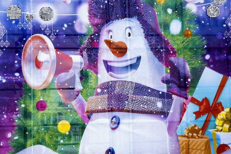 Muñeco de nieve con el altavoz foto de archivo libre de regalías