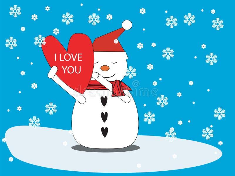 Muñeco de nieve con el corazón imagen de archivo libre de regalías