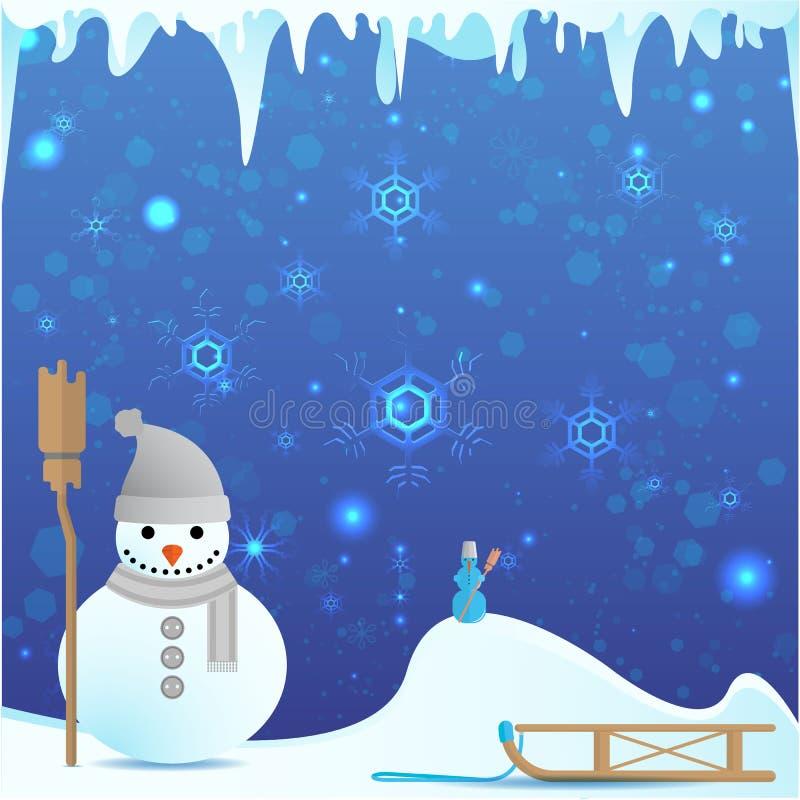 Muñeco de nieve con el ejemplo lindo del invierno de la escoba ilustración del vector