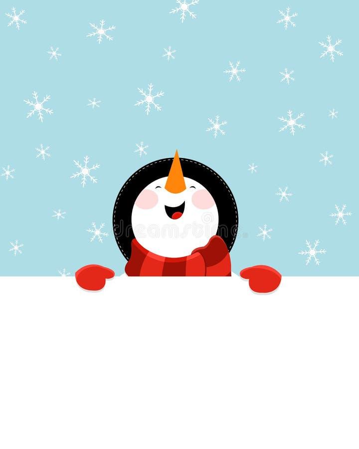 Muñeco de nieve con el papel en blanco ilustración del vector