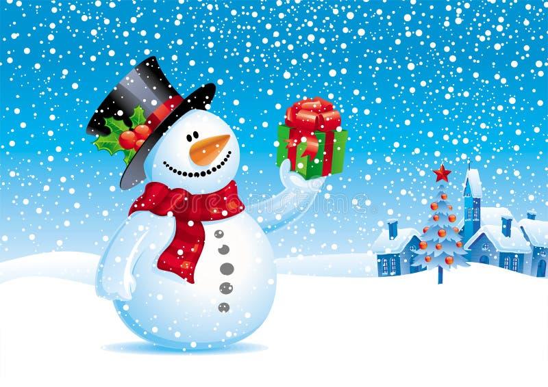 Muñeco de nieve con el regalo para usted stock de ilustración
