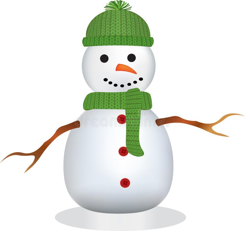 Muñeco de nieve con el sombrero y la bufanda verdes stock de ilustración
