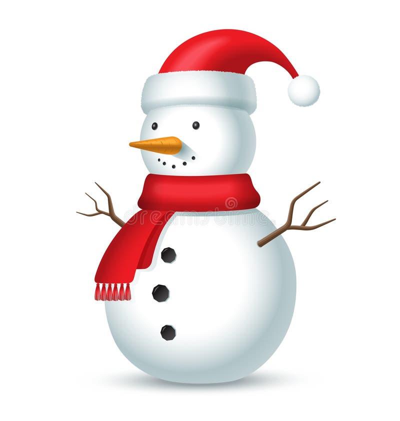Muñeco de nieve con la bufanda y el sombrero rojos con un bubón stock de ilustración