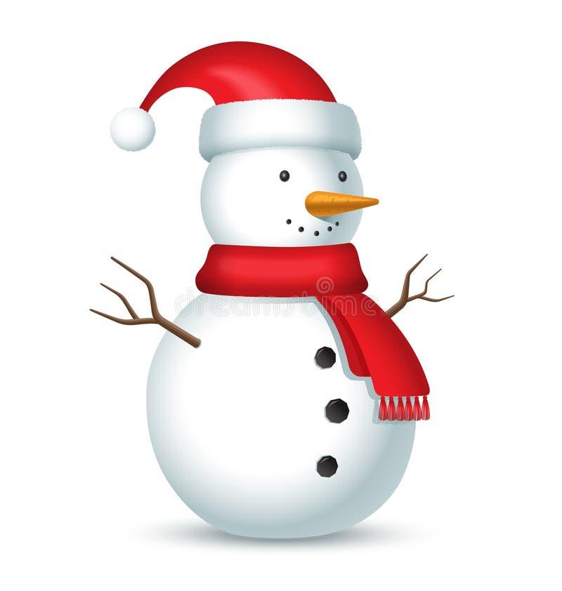 Muñeco de nieve con la bufanda y el sombrero rojos con un bubón ilustración del vector