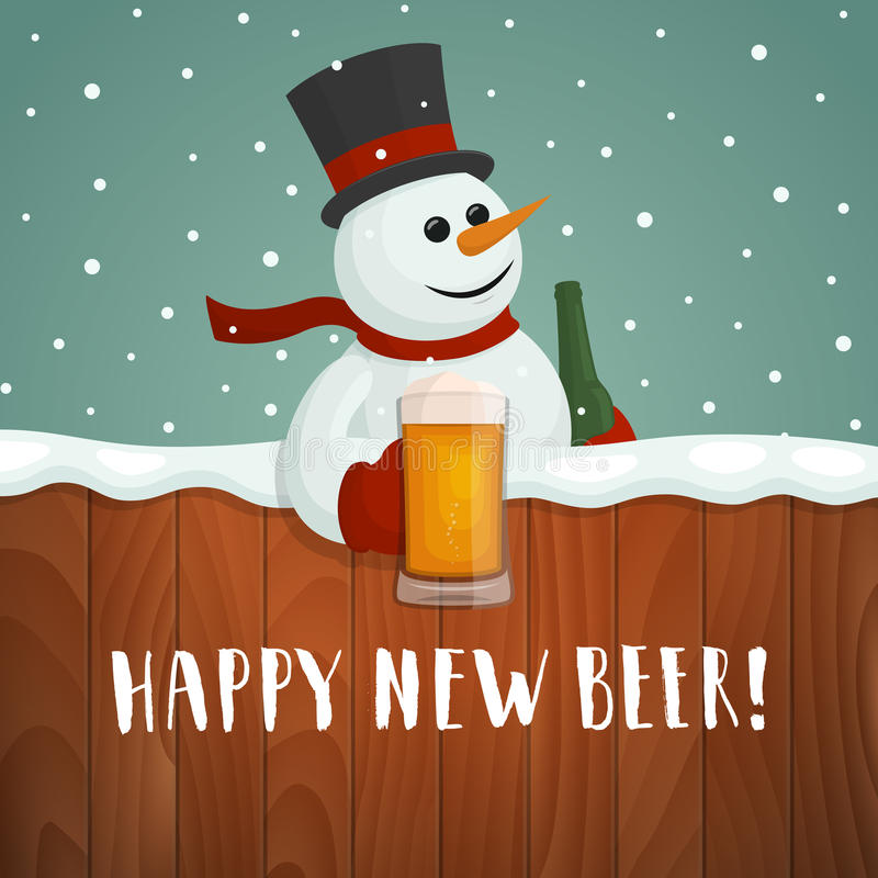 Muñeco de nieve con la cerveza Nuevo logotipo feliz de la cerveza libre illustration